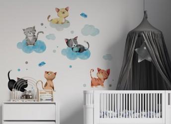 naklejki na ścianę kotki