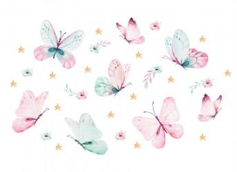naklejki na ścianę różowe motyle