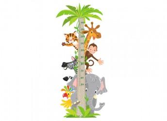 naklejka miarka wzrostu ze zwierzętami