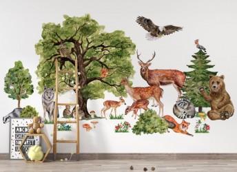 naklejki na ścianę leśne zwierzęta