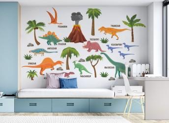 naklejki na ścianę dinozaury i nazwy