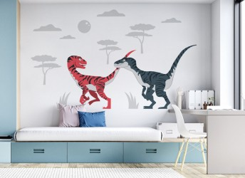 naklejka na ścianę dla dzieci velociraptor