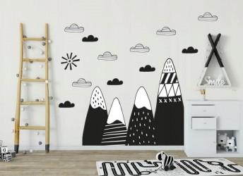 naklejka na ścianę góry i chmury