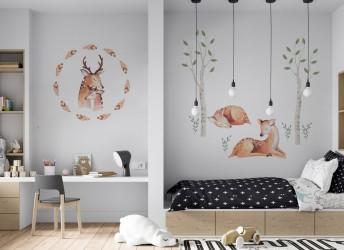 naklejki na ścianę las sarenki