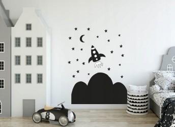 Naklejki na ścianę dla dzieci rakieta, kosmos