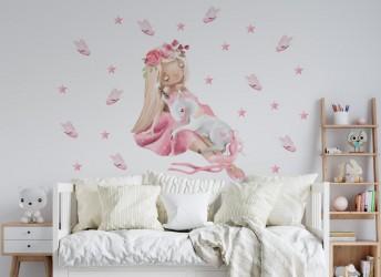 Naklejka na ścianę dziewczynka z jednorożcem