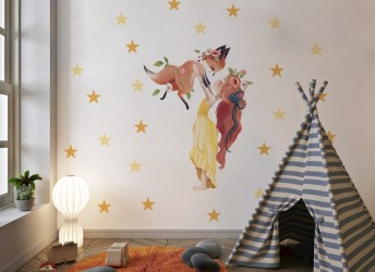 Naklejka na ścianę dziewczynka z lisem