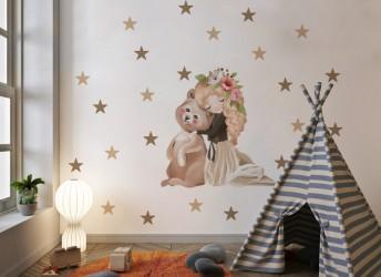Naklejka na ścianę dla dziewczynki miś
