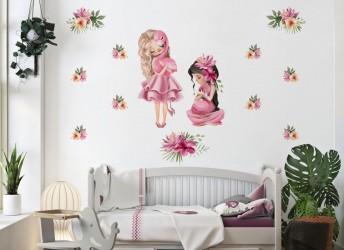 Naklejka na ścianę dla dziewczynki flamingi