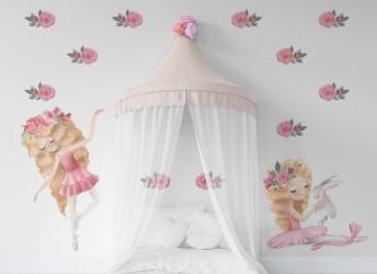 Naklejka dla dziewczynki baletnice i róże
