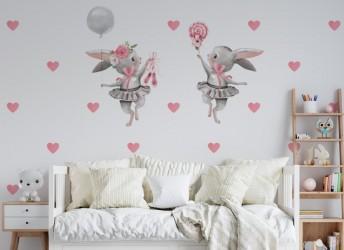 Naklejka na ścianę dla dziewczynki baletnice króliczki