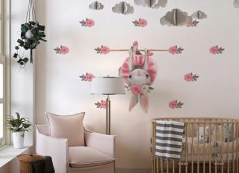 Naklejka na ścianę dla dziewczynki króliczek