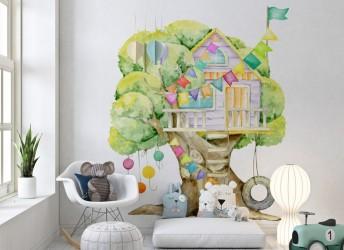 naklejka na ścianę dla dzieci domek na drzewie