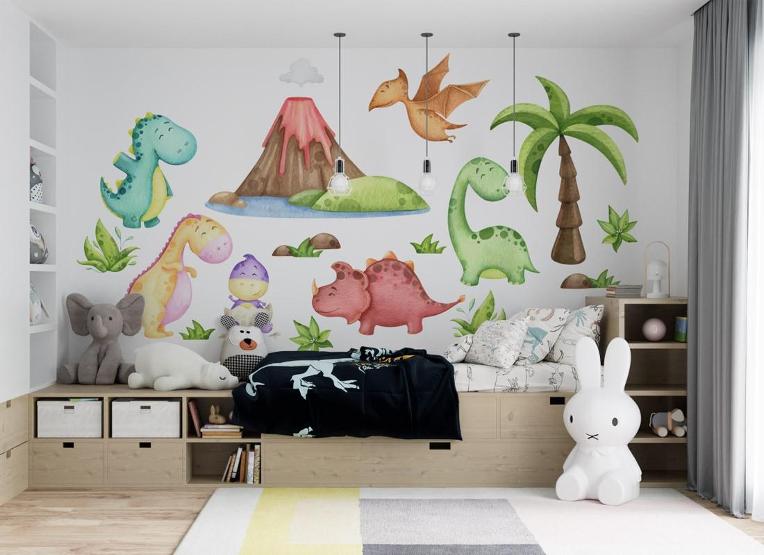 naklejka na ścianę dla dzieci dinozaury i wulkan
