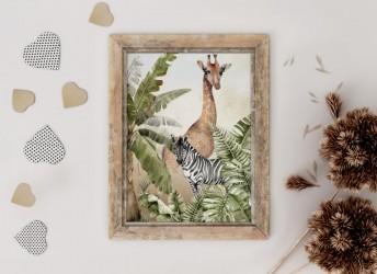 Plakat SAWANNA żyrafa i zebra