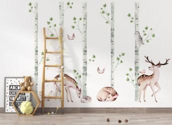 naklejki na ścianę sarenki i brzozy