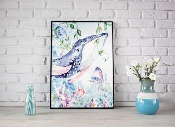 Kolorowy plakat z motywem wieloryba w oceanie
