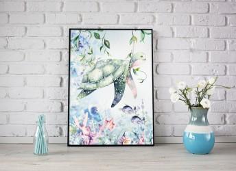 Plakat ocean z żółwiem do pokoju dziecka