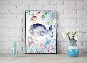 Plakat ocean z rybkami do pokoju dziecka