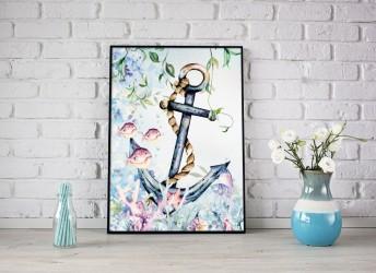 Plakat ocean z kotwicą i rybkami