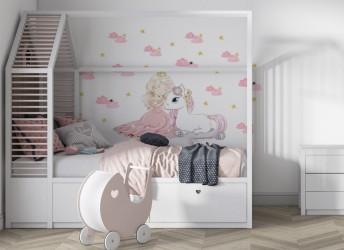 różowa naklejka na ścianę dla dzieci