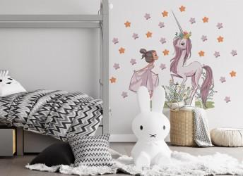 naklejka na ścianę dla dzieci jednorożec