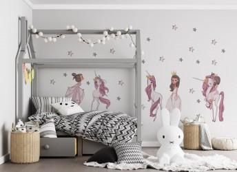 Naklejka na ścianę z jednorożcami dla dziewczynki