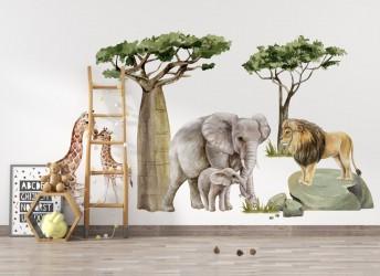naklejki na ścianę dla dzieci lew i żyrafy