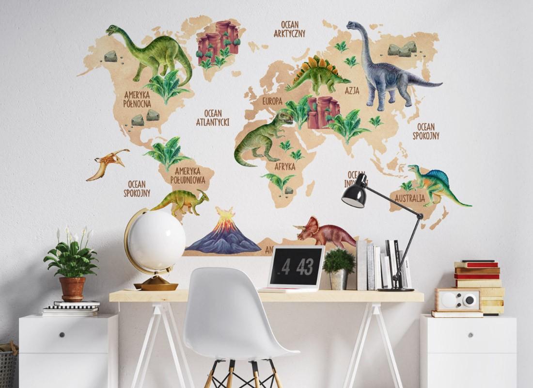 naklejki na ścianę mapa świata dinozaury