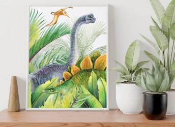 Plakat z dinozaurem Brachiozaur i Stegozaur