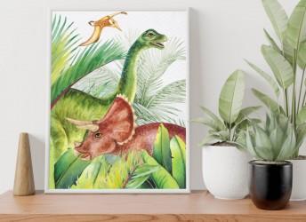 Plakat z dinozaurem Diplodok i Triceratops