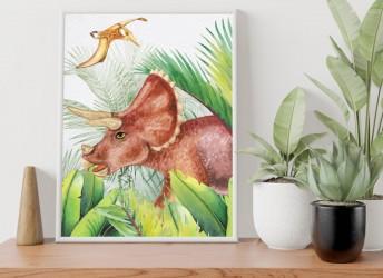 Plakat dla dzieci z dinozaurami