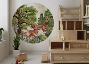 Naklejka na ścianę dla dzieci koło leśne zwierzęta