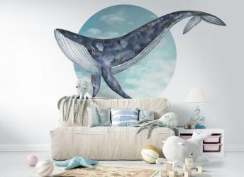 Naklejka na ścianę dla dzieci koło wieloryb