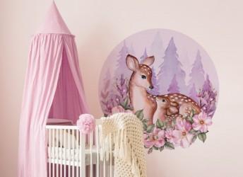 Naklejka na ścianę dla dzieci koło sarenki