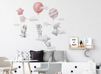 Naklejki na ścianę króliczki z balonami