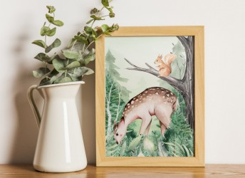 Plakat leśna kraina z sarenką i wiewiórką