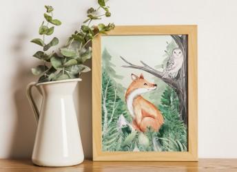 Plakat leśna kraina z lisem i sową