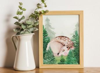Plakat leśna kraina i śpiący sarenka
