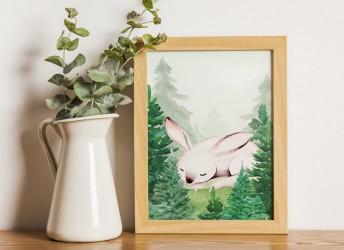 Plakat leśna kraina i śpiący zajączek