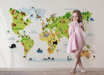 naklejka mapa świata z napisami