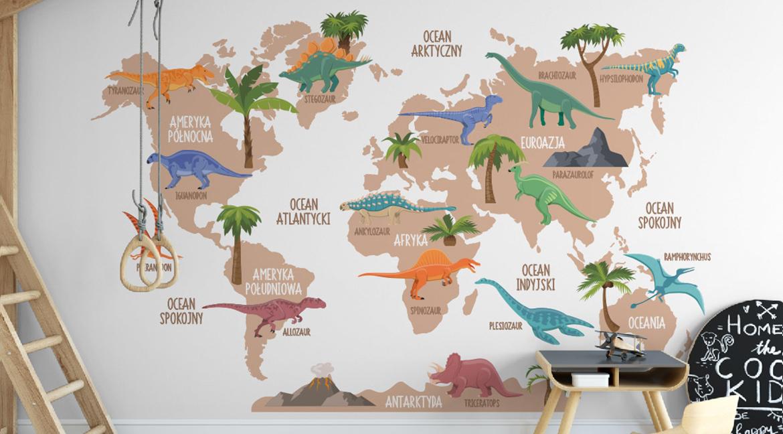 edukacyjna naklejka na ścianę dinozaury