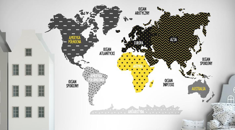 naklejka na ścianę mapa świata batman